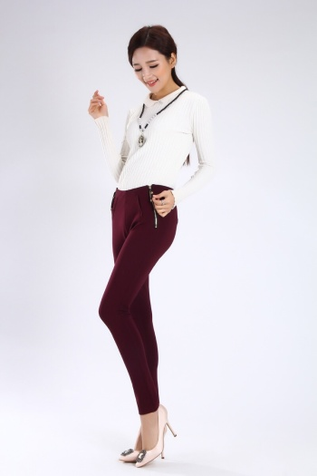 Leggings Slim Slim Pants with zipper decoration