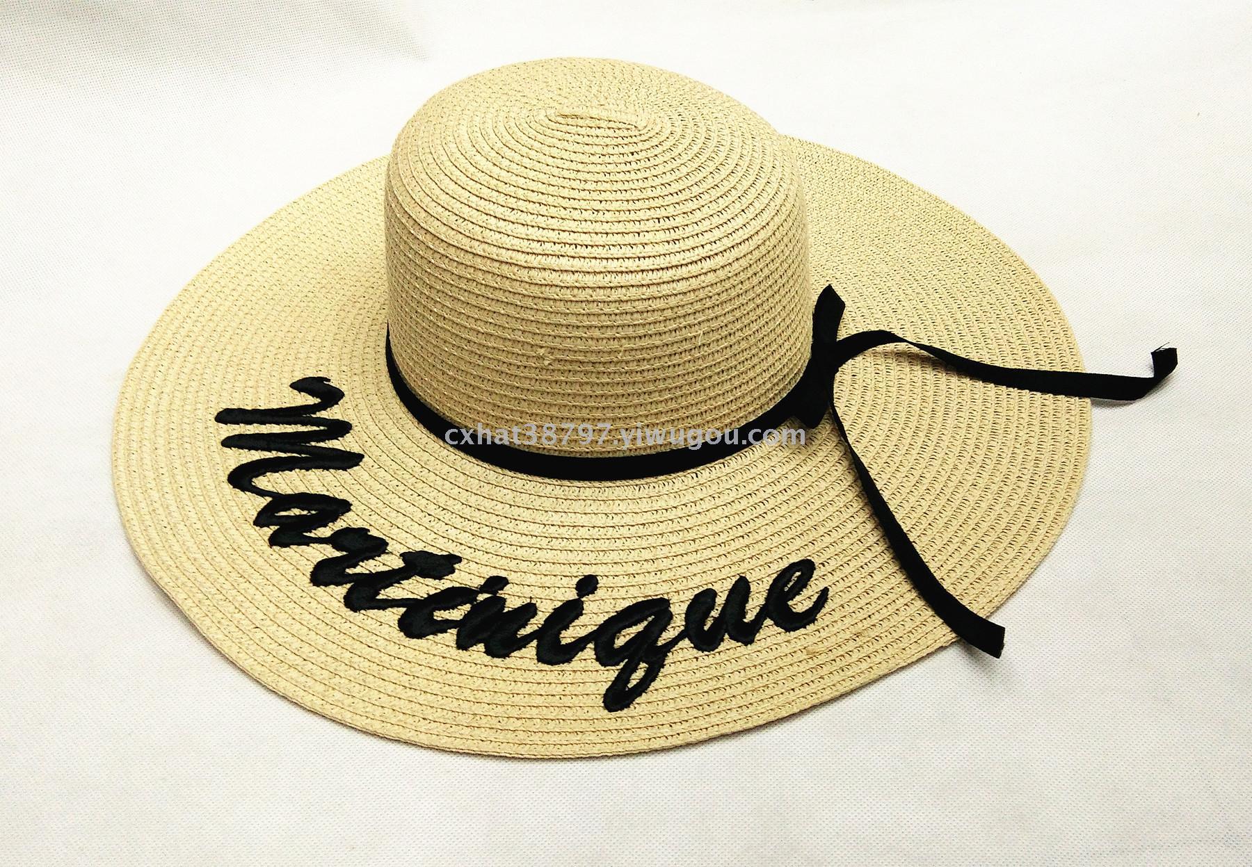 新款刺绣字母大檐帽 时尚纸编沙滩帽 百搭帽子
