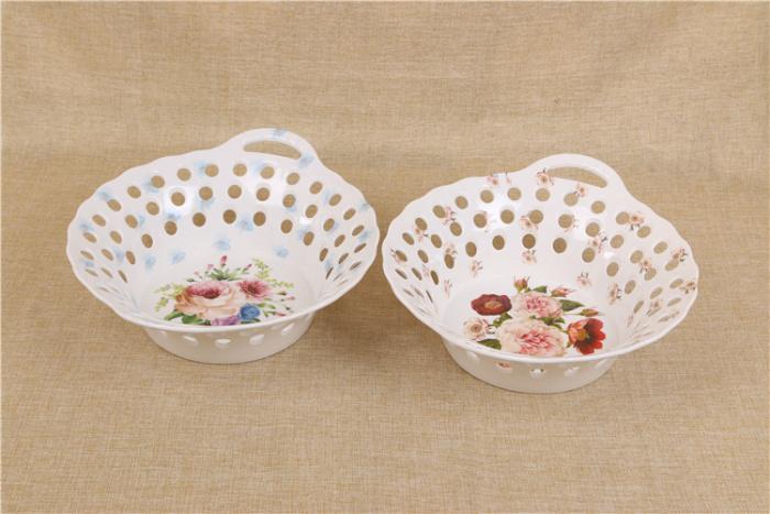 欧式仿陶瓷水果盘子时尚创意家居客厅装饰摆件糖果盘