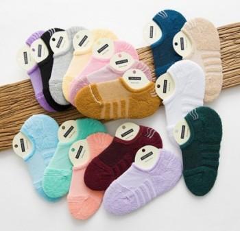 Cotton terry socks women socks sports towels boat socks sweat silicone non - slip short socks
