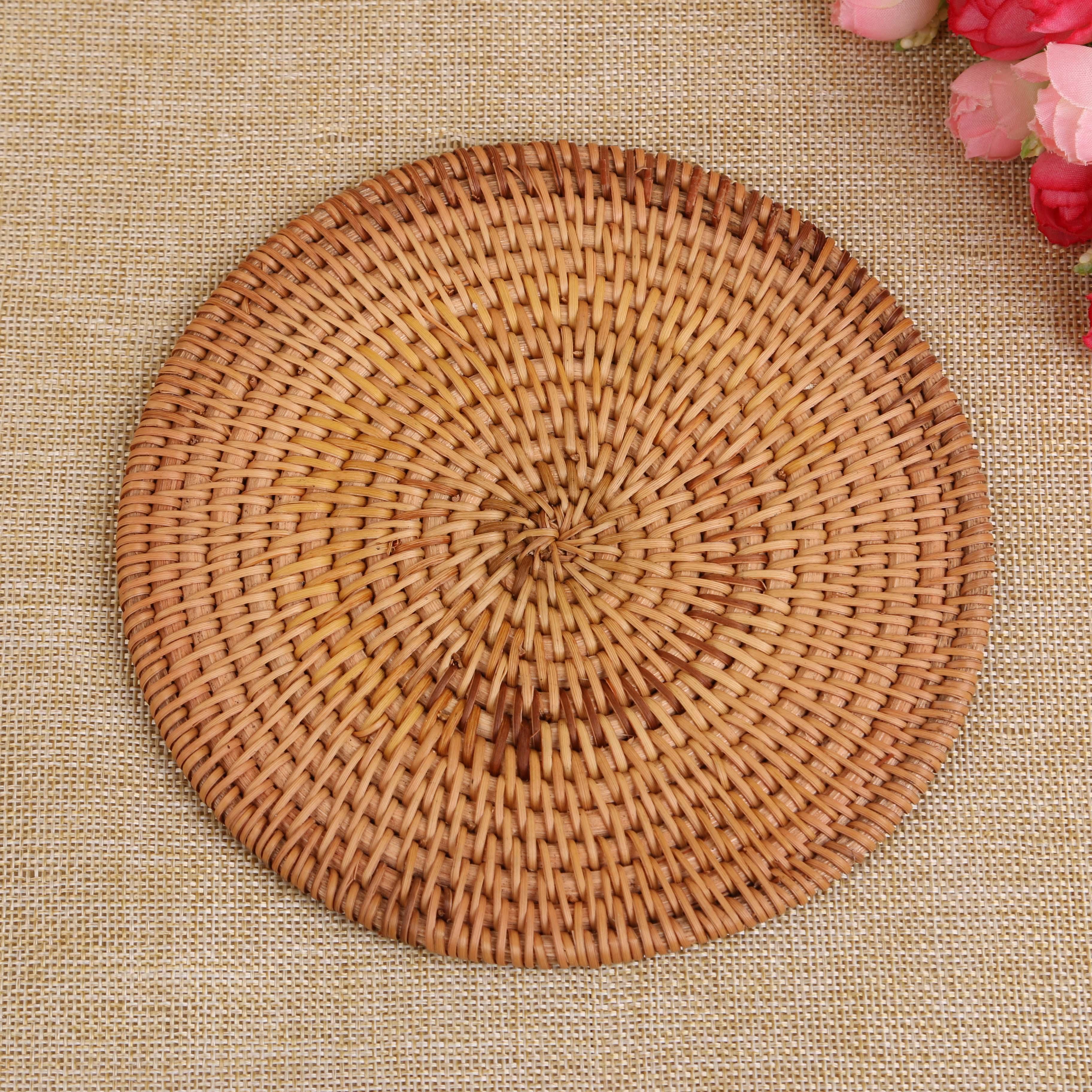 手工编织越南藤编杯垫餐桌盘子隔热垫碗垫茶杯壶垫餐