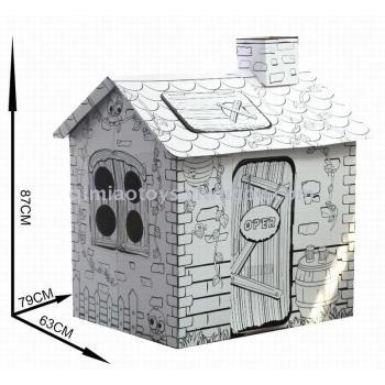 DIY纸房子立体拼图手绘彩画涂鸦大藤家