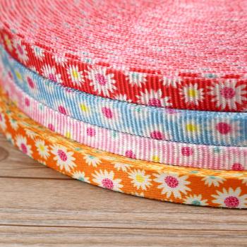 彩色小花印花织带 宠物绳带 热印菊花带 双面印花带厂家