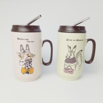 Ceramic cups creative gypsophila cartoon coffee cups office student couple birthday gift straw cup