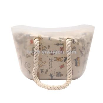 New stylish silicone transparent Candy-colored Beach shoulder bag matching canvas bag