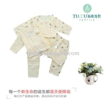 Cotton double gauze baby suit spring and summer  of air conditioning service pajamas long - sleeved underwear suit