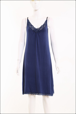 015#Foreign women 's blue low V - neck lace decorative harness pajamas skirt tank top