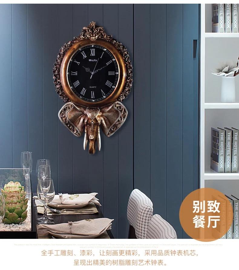 客厅钟表挂钟创意欧式复古大气静音时钟家用时尚大象壁饰墙面