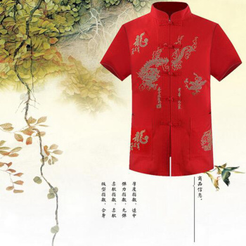 Middle-aged men's costumes short-sleeved  Chinese clothing Chinese style
