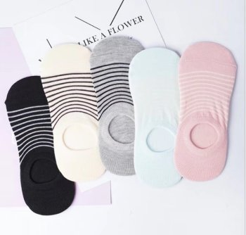 Candy color striped socks female fashion ladies invisible boat socks breathable shallow mouth socks