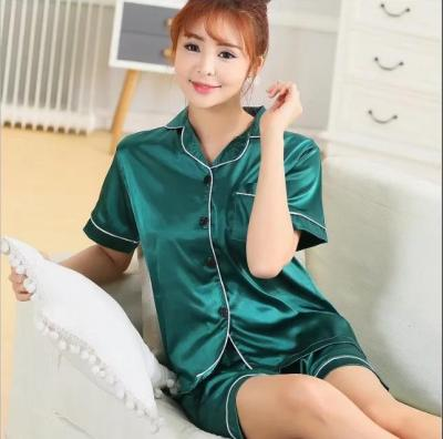 Simulation of ice silk cardigan pajamas pure color short - sleeved shorts two sets of women 's casual home service
