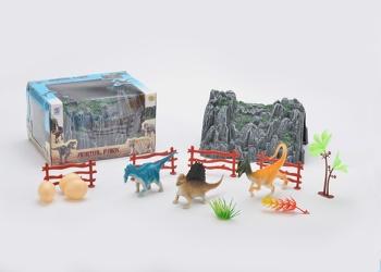 Children 's educational toys wholesale simulation mountain + dinosaur combination box 53