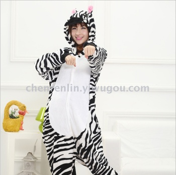 Cute men and women flannel couples models long - sleeved cartoon animals Siamese pajamas zebra toilet version