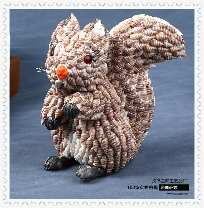 天然贝壳海螺工艺品动物松鼠 家居摆件 精美饰品