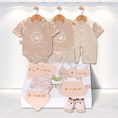 Summer baby clothes gift box maternal and child supplies cotton just full moon baby suit short sleeve