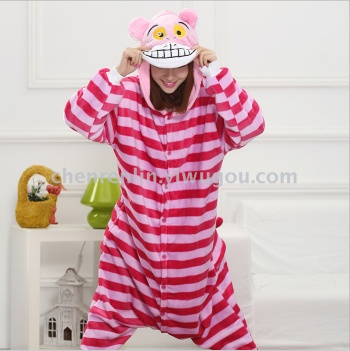 Cartoon animal Cheshire cat piecemeal pajamas flannel toilet version of male and female couple models