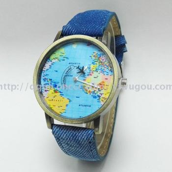 World sailing map wristwatches jeans watch wrist watch