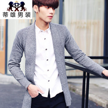 Autumn men 's sweater cardigan cotton thin sweater Korean V - neck jacket