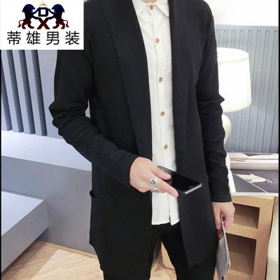 Autumn men 's sweater cardigan cotton thin sweater Korean V - neck jacket