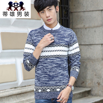 Sweater autumn and winter men's youth round neck long-sleeved Korean Slim men sweater sweater
