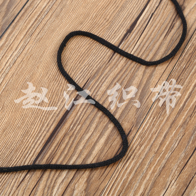 Pure black circular knitting with decorative ribbon apparel Jewelry Accessories