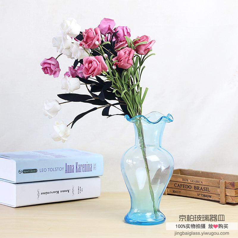 欧式彩色玻璃花瓶透明客厅插花水培花瓶摆件干花花瓶
