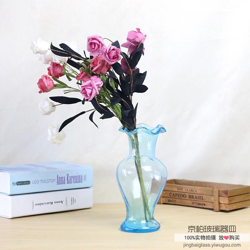 彩色干花花瓶欧式玻璃花瓶摆件透明家居客厅摆件小清新插花