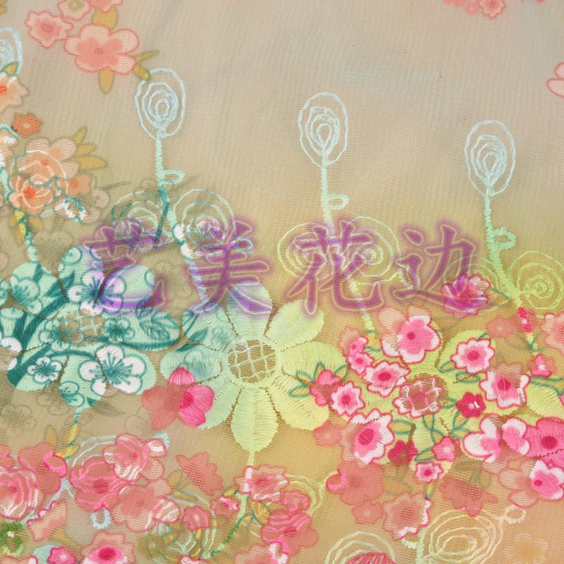厂家直销 满幅炫彩花纹图案刺绣花边 服装diy辅料