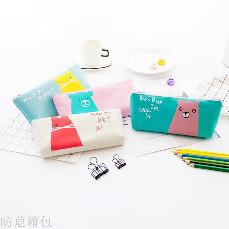 韩版新款学生文具简单动物倒梯形笔袋卡通可爱简约动物铅笔