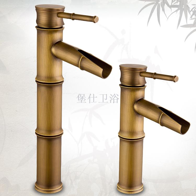 Supply copper antique European faucet single hole hot and cold water ...