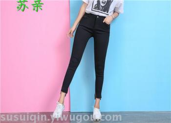 Leggings pants new autumn section wear nine points trousers mouth slits slim pants