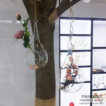 Hollow plant hanging glass ball bottle water drop hanging vase glass crafts creative home accessories