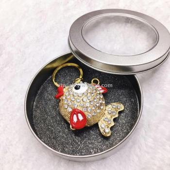 Factory direct Christmas Eve goldfish drop oil exquisite key chain