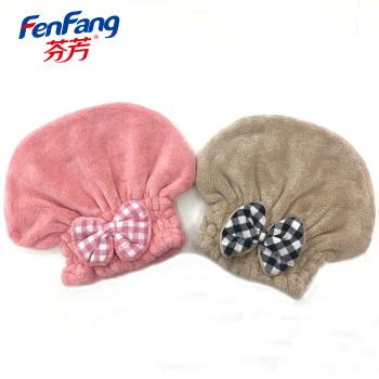 柔软超级吸水蝴蝶干发帽包头巾擦头发速干帽厂家直销一对2个