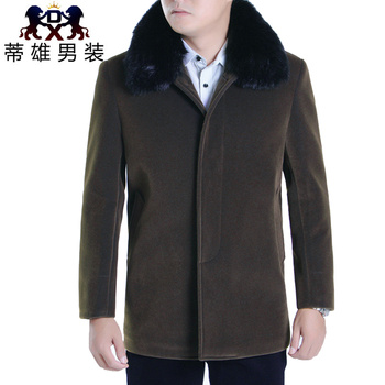 Tichon cashmere coat men's winter long padded coat middle-aged lapel wool coat