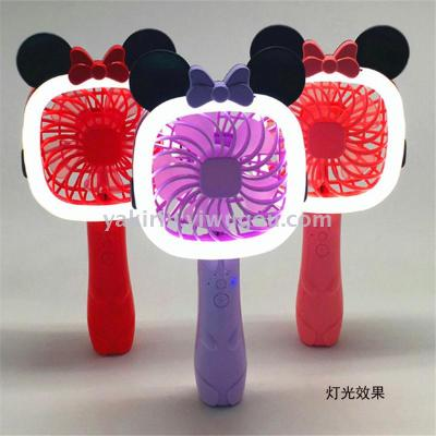 New Mickey Charging Fan Creative Cartoon Student Handheld Small Fan Portable LED Night Light Fan