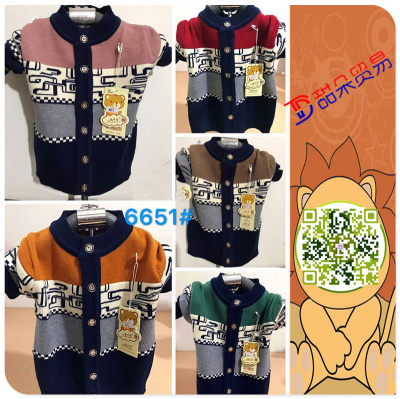 autumn and winter wear new boys and girls embroidery button sweater sweater garment manufacturers direct sales
