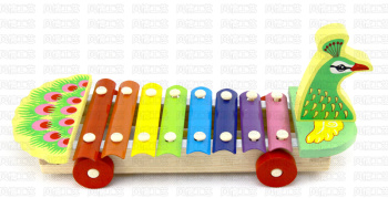 Duckling musical pull 8-tone Piano musical cartoon animal knocked piano xylophone, educational wooden toys
