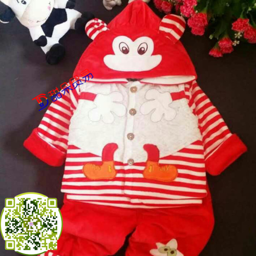The red mud rabbit qiu dong outfit of men's three suit baby newborn infant children cotton clothes in winter