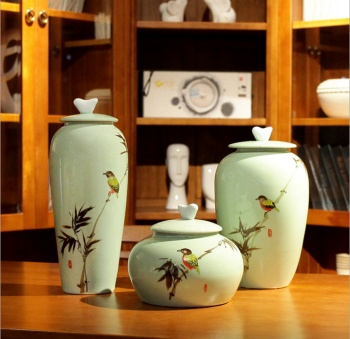 Modern Chinese hand - painted flowers and birds bamboo general cans table crafts Decoration