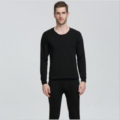 Men 's thermal underwear plus velvet thick round neck suit Slim autumn pants solid color trend