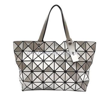 Summer women baodan shoulder hand mirror laser rhombic lattice triangle stitching geometry package