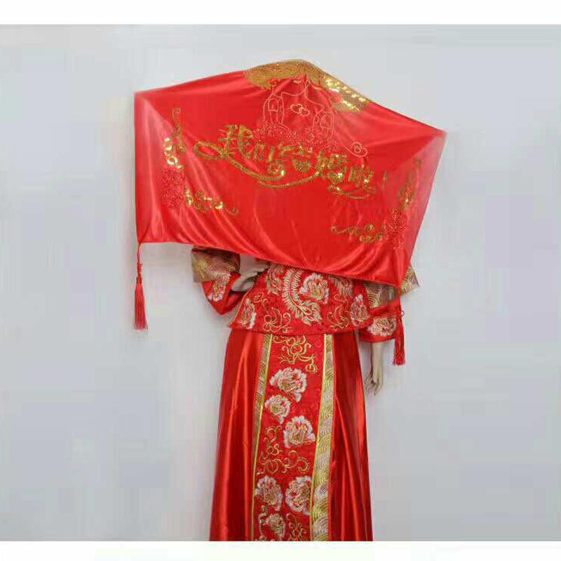 厂家直销 中式红色流苏头纱 婚礼大红喜帕红盖头