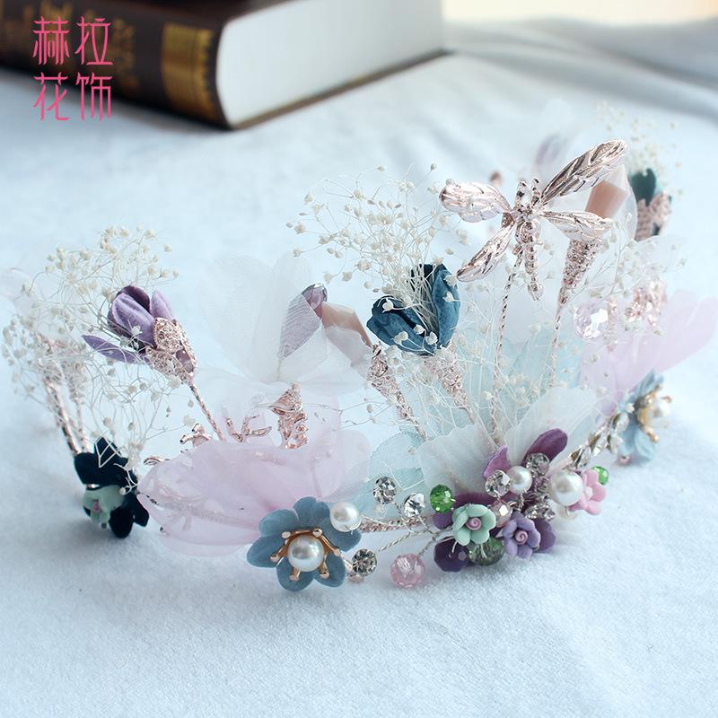 新款小蜻蜓花朵皇冠头饰森系永生花发饰王冠新娘婚纱