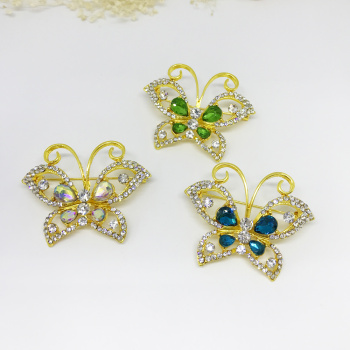 Korean version of the retro fashion high-end brooch female crystal butterfly corsage flower diamonds