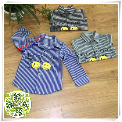 Button shirt red mud rabbit autumn winter boy girl's knit shirt boy stripe checked collar shirt children's clothing