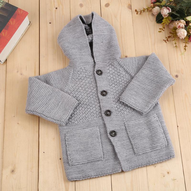 手工编织羊毛线衣带帽子宝宝毛衣线衫毛衣外套