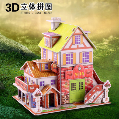 The paper puzzle 3D intelligence model building blocks toys housing accommodates mixed car