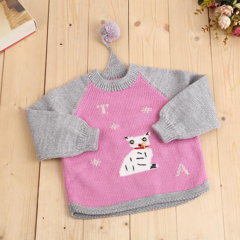 手工编织儿童羊毛衣婴幼儿套头毛线衣 周岁宝宝套装