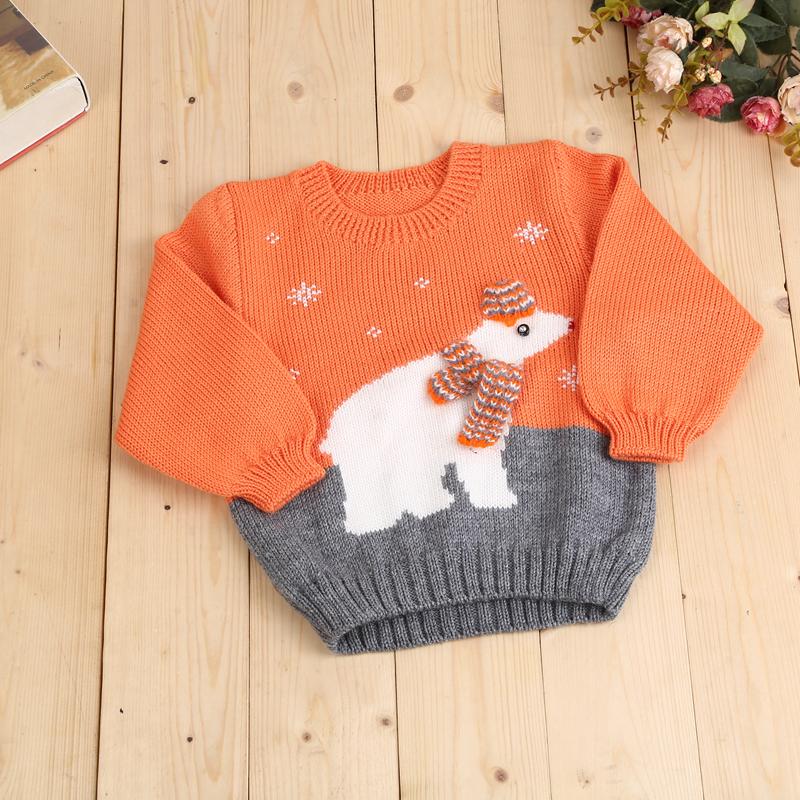 手工编织毛衣 儿童毛衣 可爱围巾小熊拼色圆领毛衣
